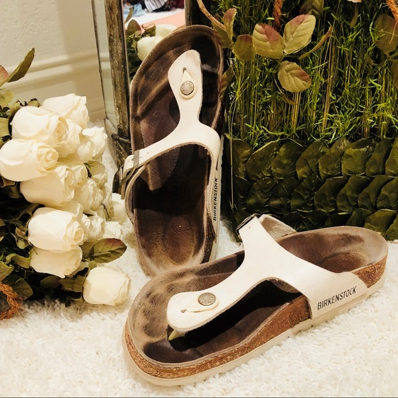 00e6acfb6 Birkenstock Shoes - Birkenstock Gizeh Birko-Flor White Leather